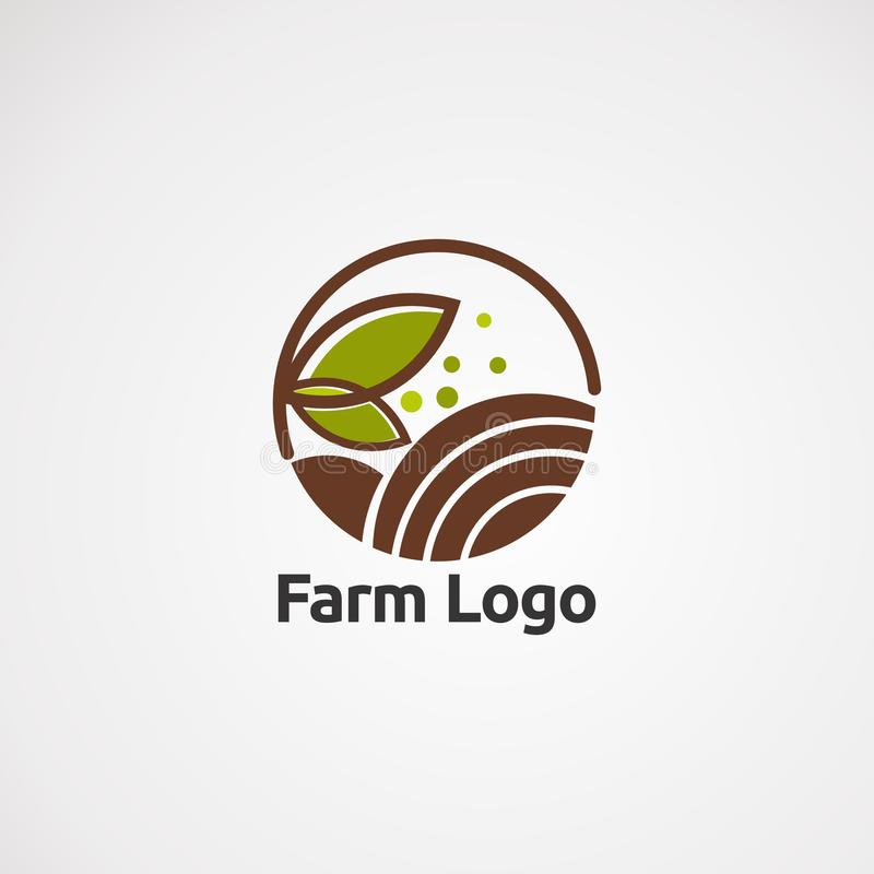 Διάνυσμα, εικονίδιο, στοιχείο, και πρότυπο αγροτικών λογότυπων για την επιχείρηση απεικόνιση αποθεμάτων