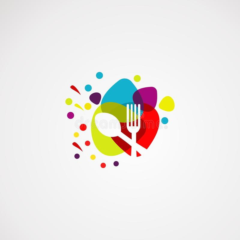 Διάνυσμα, εικονίδιο, στοιχείο, και πρότυπο λογότυπων τροφίμων χρώματος για την επιχείρηση ελεύθερη απεικόνιση δικαιώματος