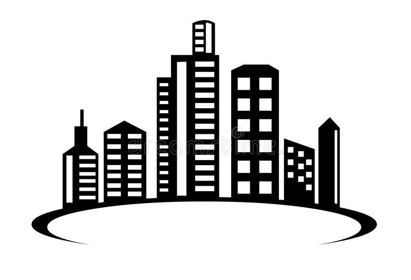 Διάνυσμα εικονιδίων λογότυπων οικοδόμησης Απεικόνιση οικοδόμων πόλεων μετρό διανυσματική απεικόνιση