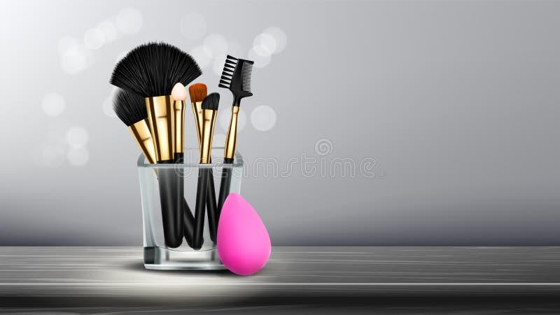 Διάνυσμα εμβλημάτων βουρτσών Makeup Καλλυντική ανασκόπηση Ομορφιά ματιών Επαγγελματικό αντικείμενο πίνακας ξύλινος κάτοχος επαγγε ελεύθερη απεικόνιση δικαιώματος