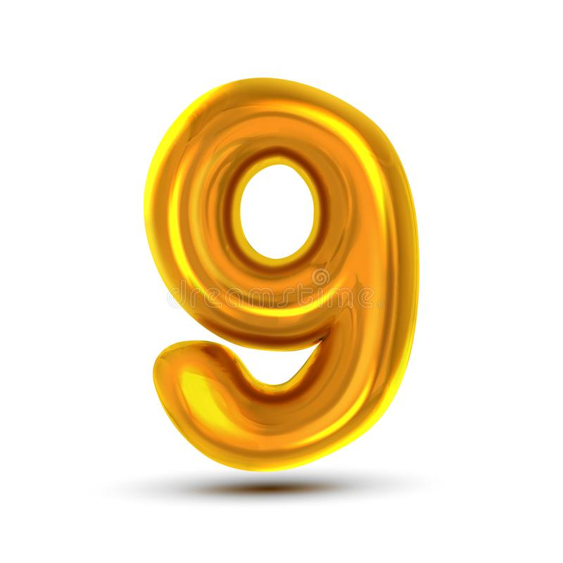 9 διάνυσμα εννέα αριθμού Χρυσός κίτρινος αριθμός επιστολών μετάλλων Ψηφίο 9 Αριθμητικός χαρακτήρας Στοιχείο σχεδίου τυπογραφίας α απεικόνιση αποθεμάτων