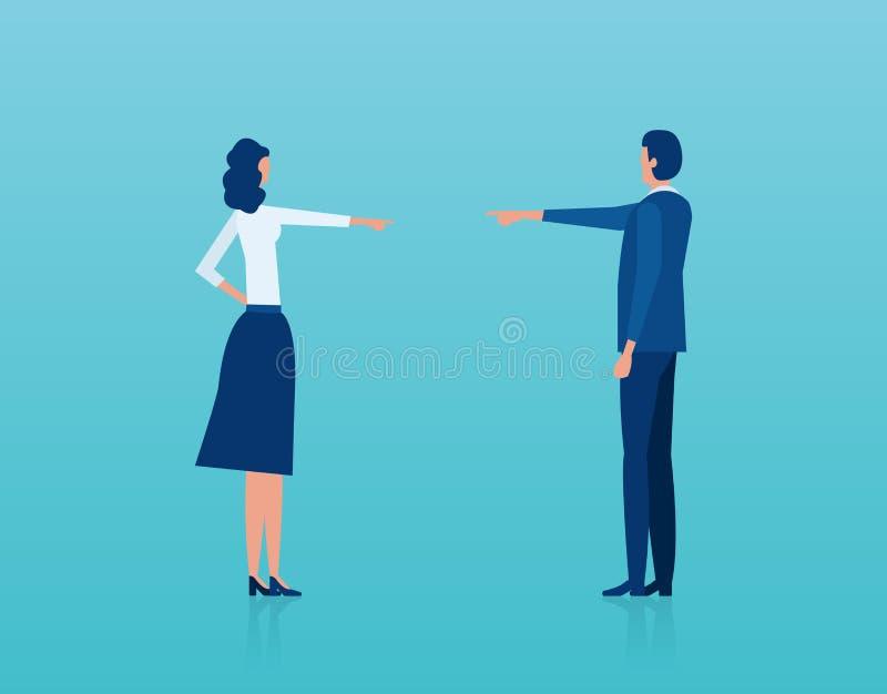 Διάνυσμα ενός άνδρα και μιας γυναίκας που έχουν ένα επιχείρημα που κατηγορεί το ένα το άλλο απεικόνιση αποθεμάτων