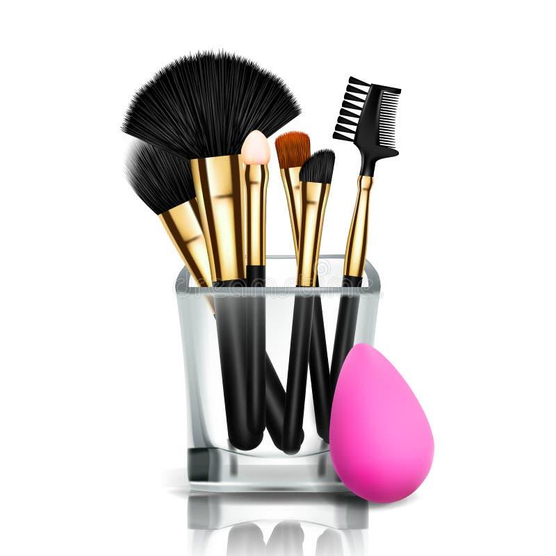 Διάνυσμα κατόχων βουρτσών Makeup Φλυτζάνι γυαλιού Θηλυκή εφαρμογή Συλλογή εξοπλισμού όμορφη χροιά accidence απεικόνιση αποθεμάτων