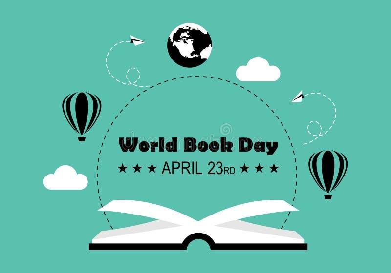 Διάνυσμα λογότυπων ημέρας παγκόσμιων βιβλίων ελεύθερη απεικόνιση δικαιώματος