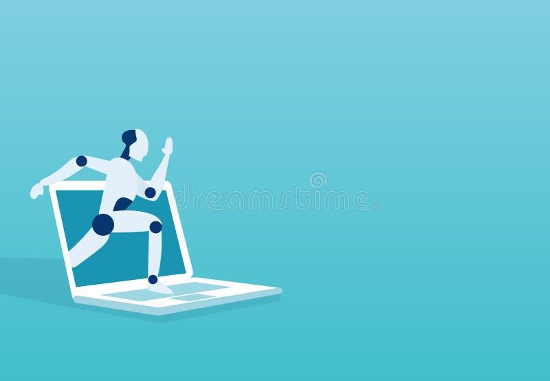 Διάνυσμα μιας σπάζοντας επιφάνειας ρομπότ ενός οργάνου ελέγχου lap-top διανυσματική απεικόνιση