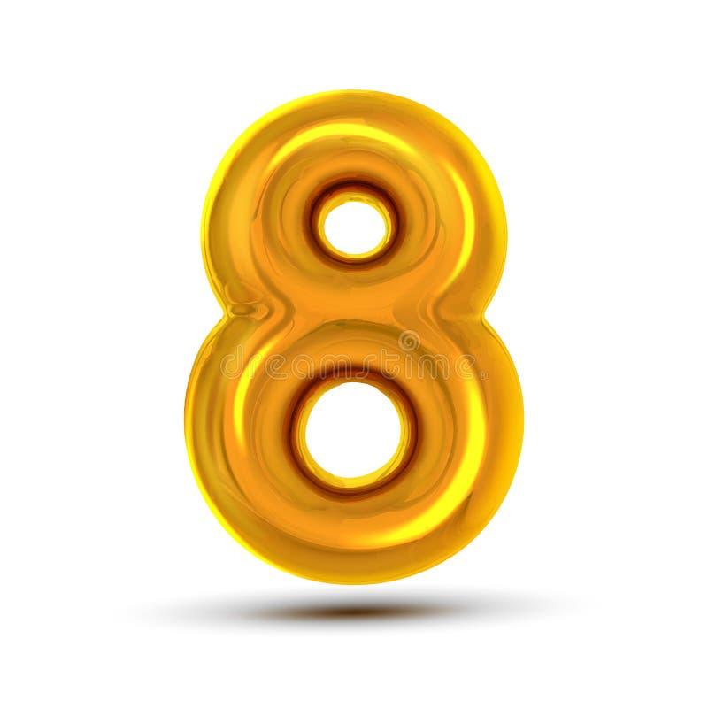 8 διάνυσμα οκτώ αριθμού Χρυσός κίτρινος αριθμός επιστολών μετάλλων Ψηφίο 8 Αριθμητικός χαρακτήρας Στοιχείο σχεδίου τυπογραφίας αλ απεικόνιση αποθεμάτων