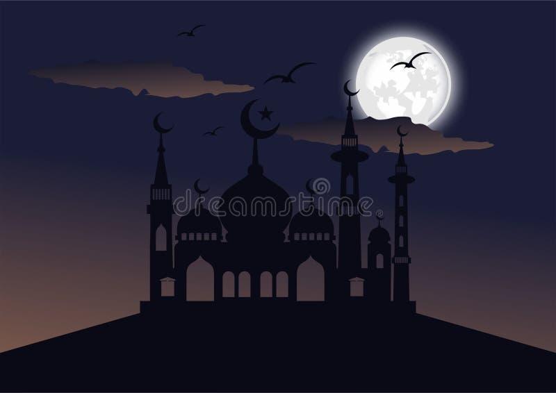 Διάνυσμα τοπίων σκιαγραφιών μουσουλμανικών τεμενών τη νύχτα διανυσματική απεικόνιση