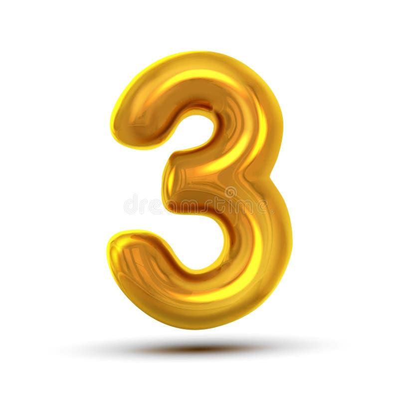 3 διάνυσμα τριών αριθμού Χρυσός κίτρινος αριθμός επιστολών μετάλλων Ψηφίο 3 Αριθμητικός χαρακτήρας Στοιχείο σχεδίου τυπογραφίας α απεικόνιση αποθεμάτων