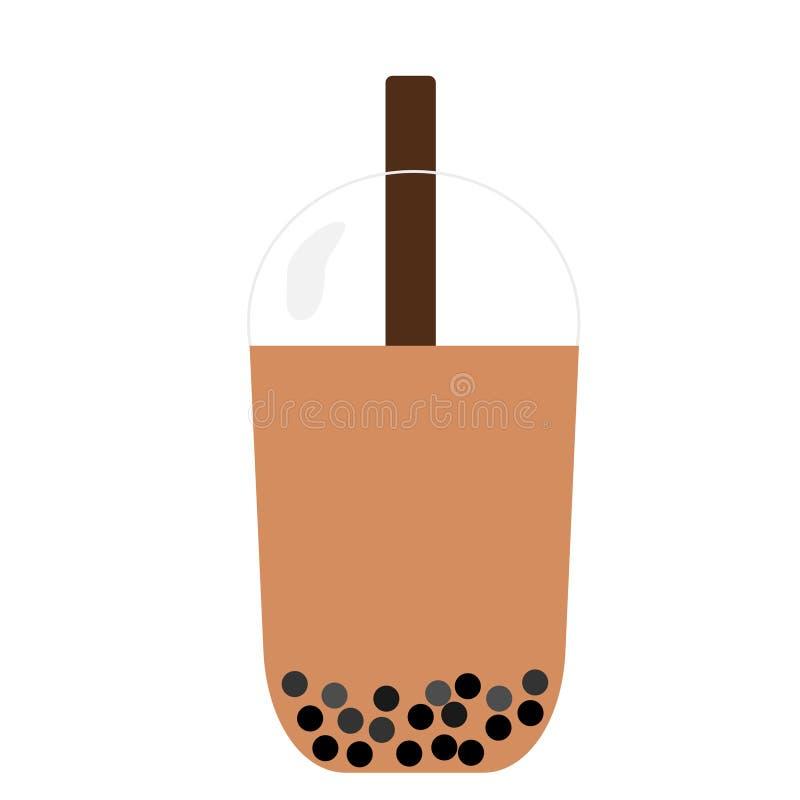 Διάνυσμα τσαγιού γάλακτος φυσαλίδων απεικόνιση αποθεμάτων