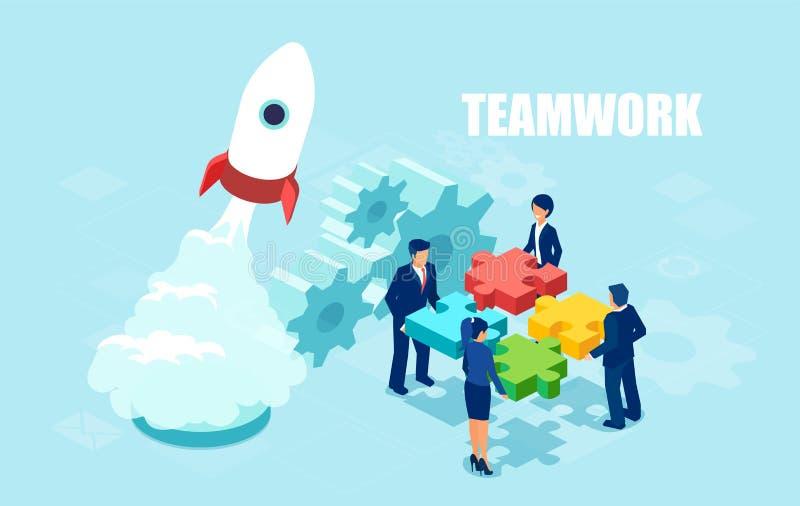 Διάνυσμα των επιχειρηματιών που κρατούν τα κομμάτια γρίφων διανυσματική απεικόνιση