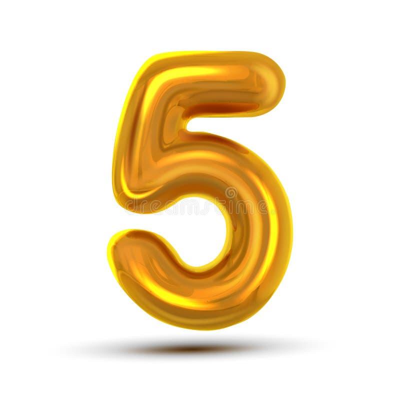 5 διάνυσμα πέντε αριθμού Χρυσός κίτρινος αριθμός επιστολών μετάλλων ψηφίο 5 Αριθμητικός χαρακτήρας Στοιχείο σχεδίου τυπογραφίας α διανυσματική απεικόνιση