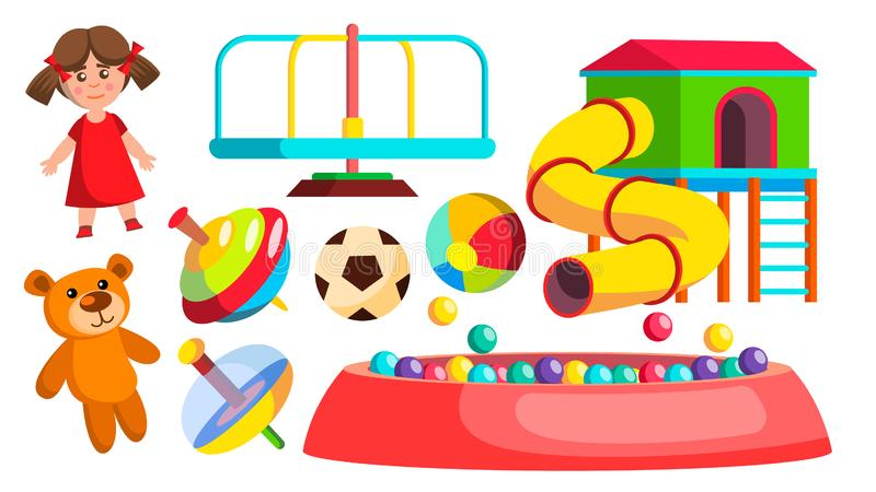 Διάνυσμα παιχνιδιών παιδικών χαρών Η κούκλα, σφαίρα, αντέχει, ιπποδρόμιο, έλξη Απομονωμένη επίπεδη απεικόνιση κινούμενων σχεδίων ελεύθερη απεικόνιση δικαιώματος