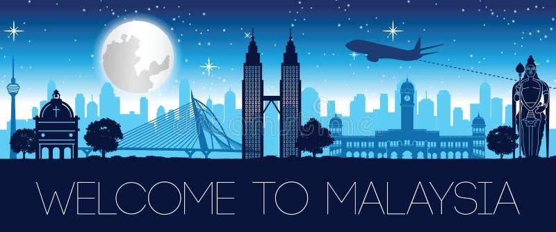 Διάσημο σχέδιο νυχτερινών σκιαγραφιών ορόσημων της Μαλαισίας απεικόνιση αποθεμάτων