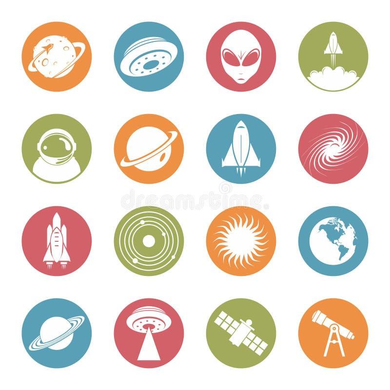 Διάστημα - αεροδιαστημικό ζωηρόχρωμο επίπεδο εικονίδιο κύκλων τεχνολογίας ελεύθερη απεικόνιση δικαιώματος