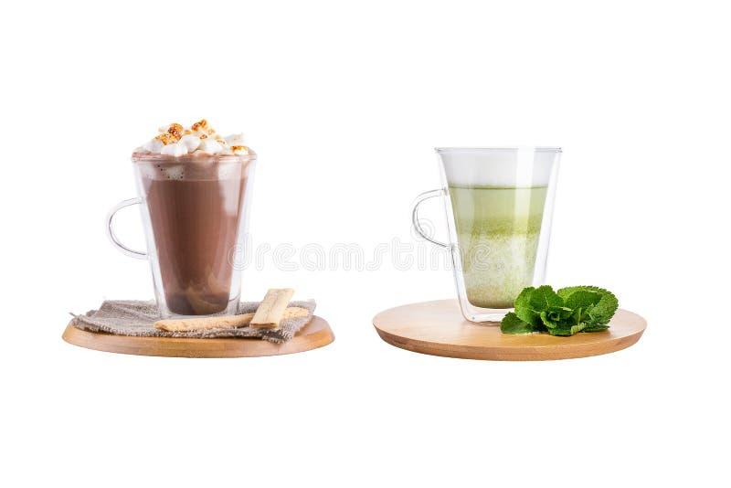 Διάφορα κοκτέιλ με τον καφέ στις κούπες γυαλιού σε ένα άσπρο υπόβαθρο στοκ εικόνες με δικαίωμα ελεύθερης χρήσης