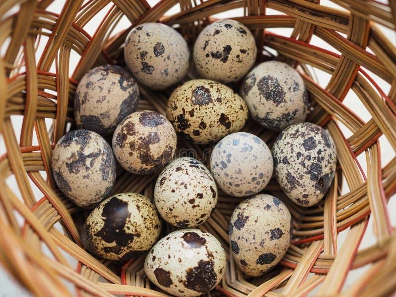 Διάφορα μικρά επισημασμένα αυγά ορτυκιών βρίσκονται σε ένα ψάθινο καλάθι στοκ εικόνα με δικαίωμα ελεύθερης χρήσης