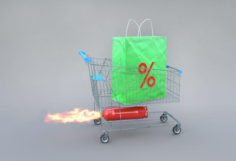 Διέγερση της shopaholic έννοιας στις πωλήσεις ελεύθερη απεικόνιση δικαιώματος