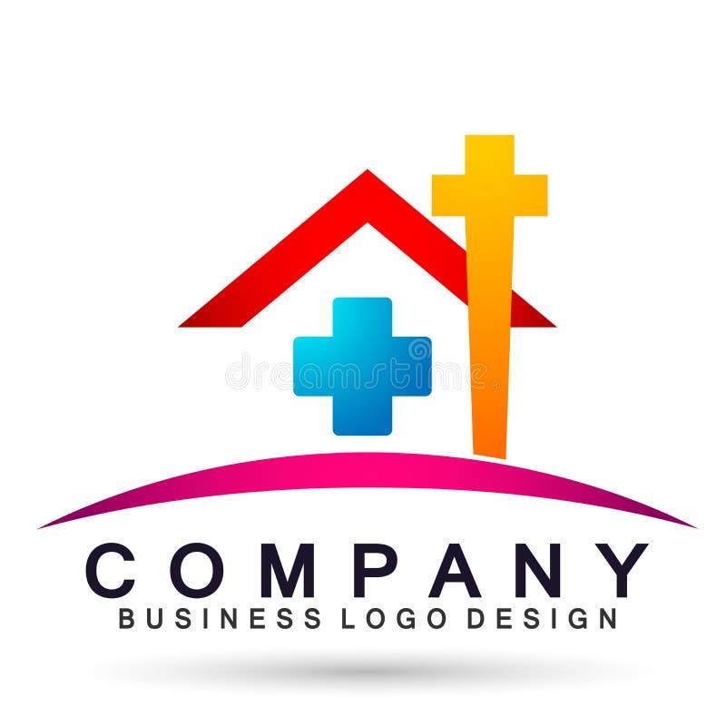 Διαγώνιο διάνυσμα στοιχείων εικονιδίων λογότυπων ήλιων εγχώριων σπιτιών εκκλησιών λογότυπων ιατρικής φροντίδας οικογενειακών εκκλ διανυσματική απεικόνιση