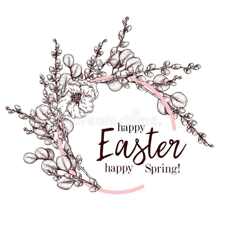 διαθέσιμος χαιρετισμός αρχείων Πάσχας eps καρτών συρμένο έμβλημα διάνυσμα χεριών Στεφάνι ιτιών bracnh με το λουλούδι ευκαλύπτων κ απεικόνιση αποθεμάτων