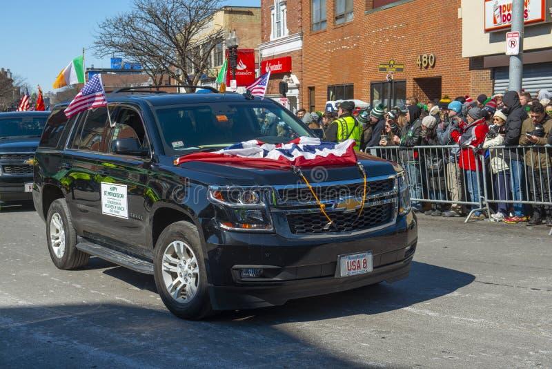 Διακοσμημένο αυτοκίνητο στην παρέλαση Βοστώνη, ΗΠΑ ημέρας Αγίου Πάτρικ στοκ εικόνες με δικαίωμα ελεύθερης χρήσης