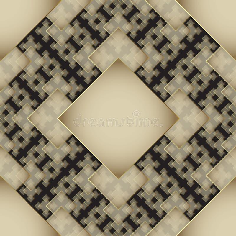 Διακοσμητικό γεωμετρικό χρυσό και μαύρο τρισδιάστατο διανυσματικό άνευ ραφής σχέδιο Σύγχρονο κομψό αφηρημένο υπόβαθρο Κεραμωμένος διανυσματική απεικόνιση