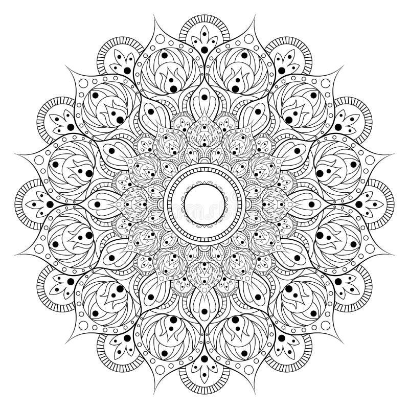 Διακοσμητικό εθνικό σχέδιο mandala Αντιαγχωτική χρωματίζοντας σελίδα βιβλίων για τους ενηλίκους Ασυνήθιστη μορφή λουλουδιών Ασιατ απεικόνιση αποθεμάτων