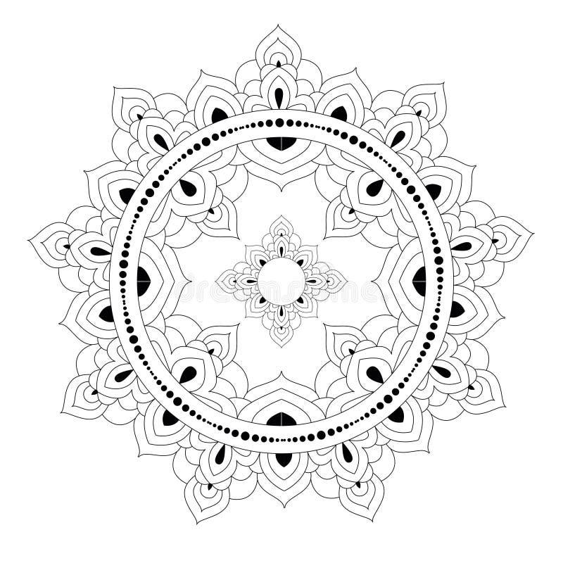 Διακοσμητικό εθνικό σχέδιο mandala Αντιαγχωτική χρωματίζοντας σελίδα βιβλίων για τους ενηλίκους Ασυνήθιστη μορφή λουλουδιών Ασιατ διανυσματική απεικόνιση