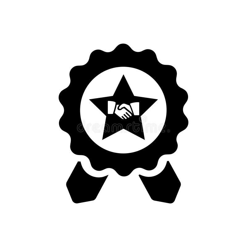 Διακριτικό, πιστοποιητικό, μετάλλιο, ποιότητα, ανταμοιβή, πινακίδα βραβείων, κορδέλλα βραβείων Μαύρο εικονίδιο βραβείων χρώματος ελεύθερη απεικόνιση δικαιώματος