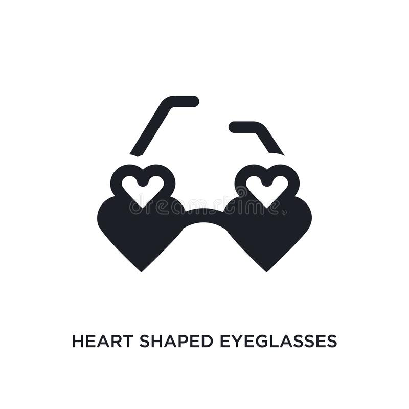 διαμορφωμένο καρδιά απομονωμένο eyeglasses εικονίδιο απλή απεικόνιση στοιχείων από τα εικονίδια έννοιας ιματισμού γυναικών Διαμορ διανυσματική απεικόνιση