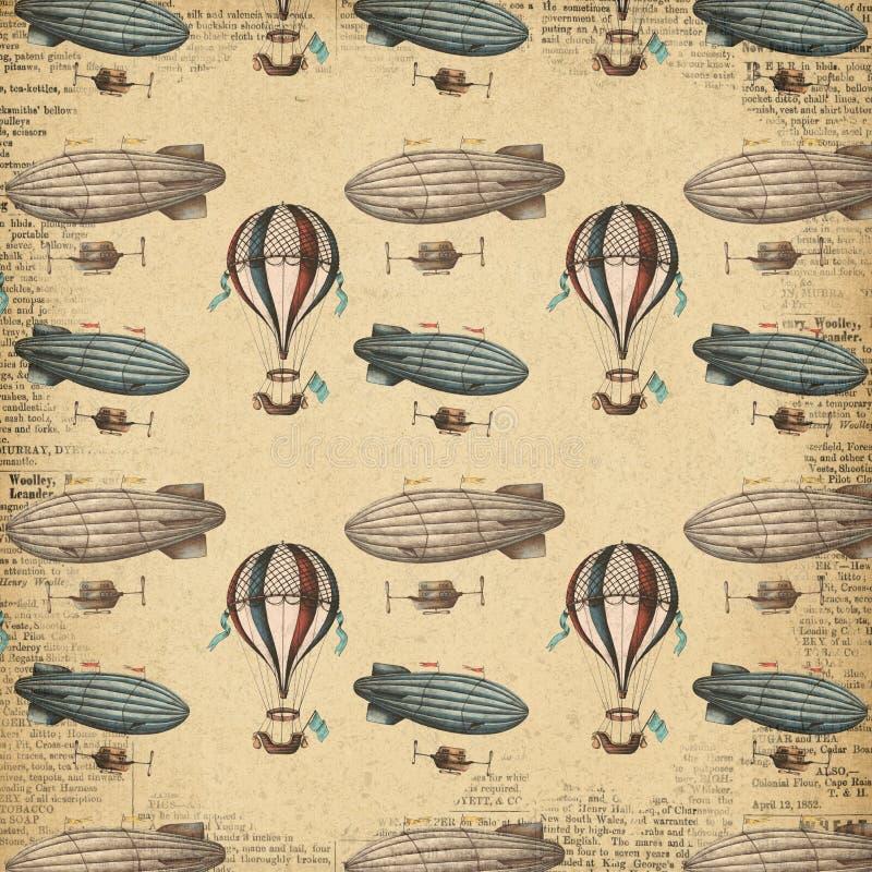 Διαμορφωμένο Steampunk έγγραφο - Derigible - αεροσκάφη - μπαλόνι ζεστού αέρα - εκλεκτής ποιότητας πετώντας μηχανές απεικόνιση αποθεμάτων