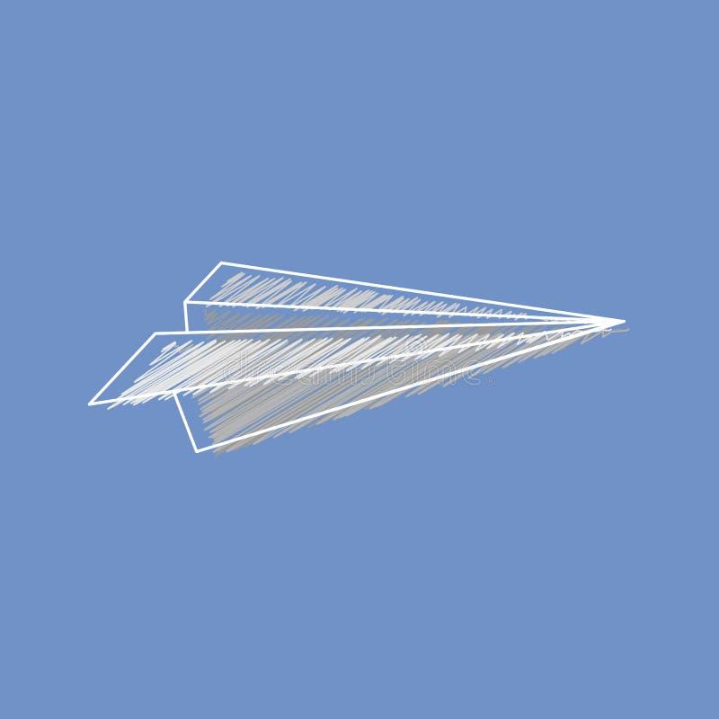 Διανυσματικά εικονίδια αεροπλάνων εγγράφου στην εκκόλαψη του ύφους ελεύθερη απεικόνιση δικαιώματος
