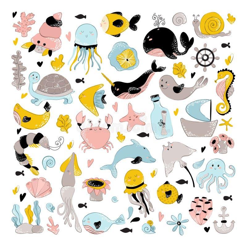 Διανυσματικά ζώα θάλασσας απεικόνιση αποθεμάτων