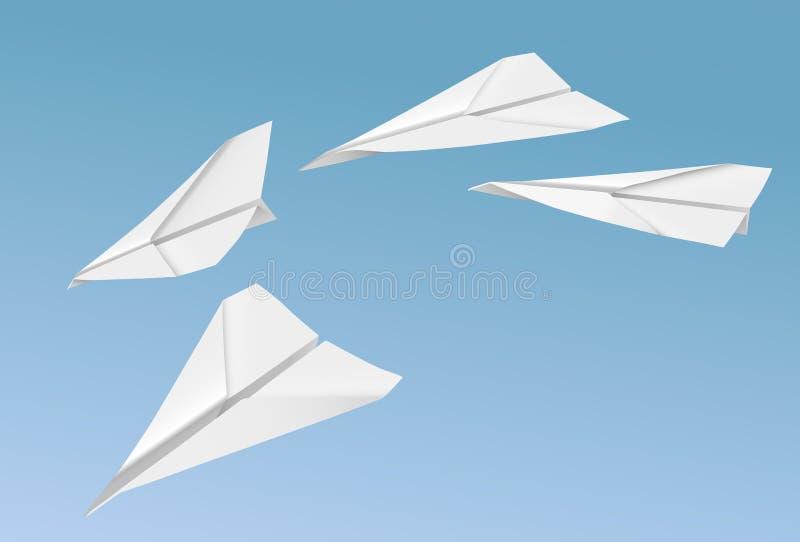 Διανυσματικά ρεαλιστικά αεροπλάνα εγγράφου που πετούν στο υπόβαθρο μπλε ουρανού απεικόνιση αποθεμάτων