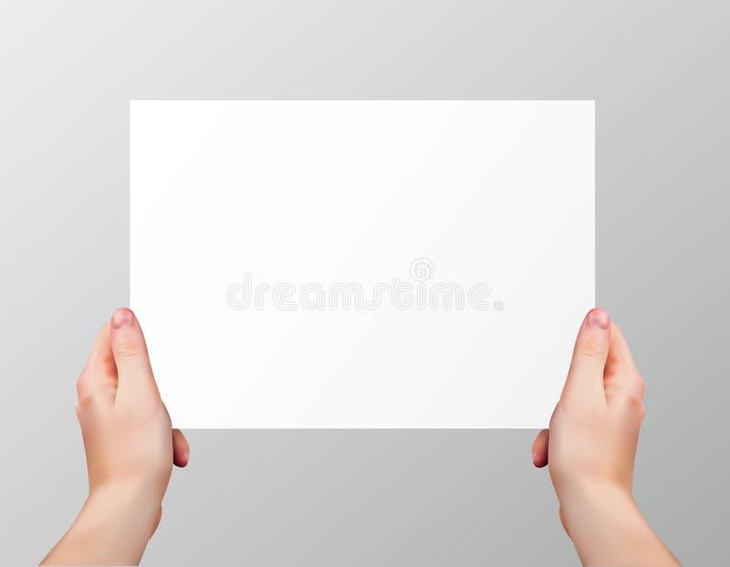 Διανυσματικά ρεαλιστικά χέρια που κρατούν την κενή οριζόντια σελίδα εγγράφου απομονωμένη στο γκρίζο υπόβαθρο διανυσματική απεικόνιση