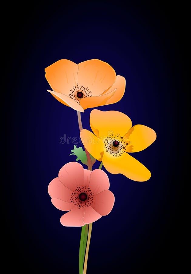 Διανυσματικά φύλλα και ζωηρόχρωμη διανυσματική απεικόνιση λουλουδιών απεικόνιση αποθεμάτων