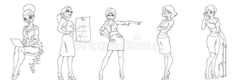 Διανυσματικές σκιαγραφίες απεικόνισης των επιχειρησιακών κοριτσιών στο άσπρο υπόβαθρο στοκ εικόνα