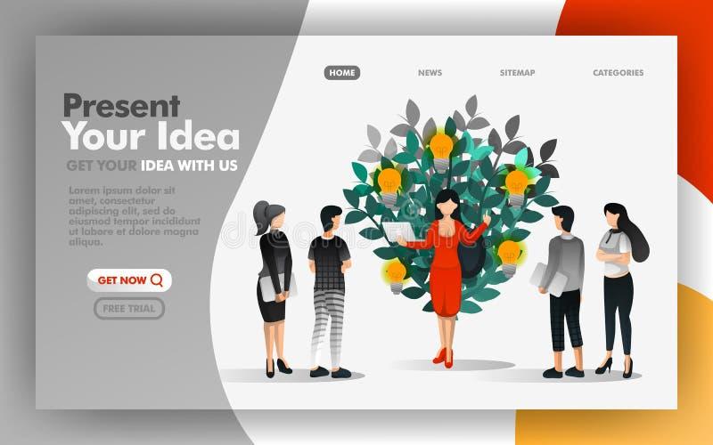 Διανυσματική έννοια απεικόνισης της επιχειρησιακής γυναίκας που παρουσιάζει τις ιδέες που που αρχίζουν να αυξάνεται Εύχρηστος για απεικόνιση αποθεμάτων