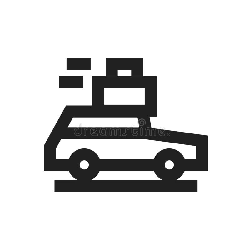 Διανυσματική έννοια απεικόνισης της κίνησης του αυτοκινήτου με το εικονίδιο ταξί αποσκευών Ο Μαύρος στην άσπρη ανασκόπηση απεικόνιση αποθεμάτων