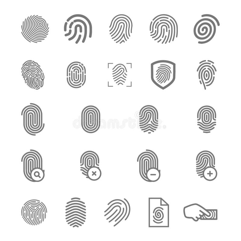 Διανυσματική έννοια απεικόνισης του εικονιδίου λογότυπων δακτυλικών αποτυπωμάτων Ο Μαύρος στην άσπρη ανασκόπηση απεικόνιση αποθεμάτων