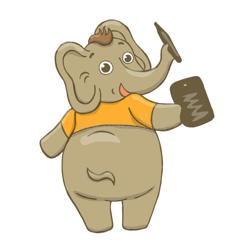 Διανυσματική απεικόνιση ενός αστείου, γκρίζου, εύθυμου ελέφαντα σε μια κίτρινη μπλούζα, επισύροντας την προσοχή σε μια ταμπλέτα,  διανυσματική απεικόνιση