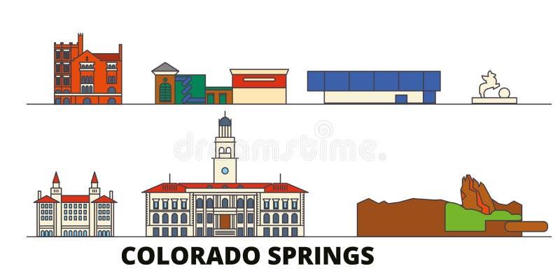 Διανυσματική απεικόνιση Ηνωμένων, Colorado Springs επίπεδη ορόσημων Πόλη Ηνωμένων, Colorado Springs γραμμών με απεικόνιση αποθεμάτων