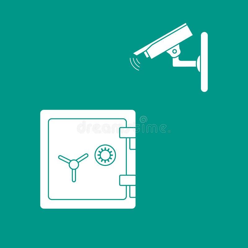 Διανυσματική απεικόνιση με τα κάμερα ασφαλείας και το χρηματοκιβώτιο ελεύθερη απεικόνιση δικαιώματος