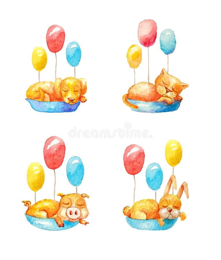 Διανυσματική απεικόνιση με τα πουλιά και τα λουλούδια Το ollection Ð ¡, έθεσε τον εσωτερικό κίτρινο ύπνο ζώων στα μπλε καλάθια, ε διανυσματική απεικόνιση