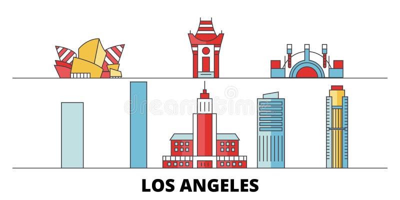 Διανυσματική απεικόνιση ορόσημων Ηνωμένων, Λος Άντζελες πόλεων επίπεδη Πόλη γραμμών Ηνωμένων, Λος Άντζελες πόλεων με ελεύθερη απεικόνιση δικαιώματος