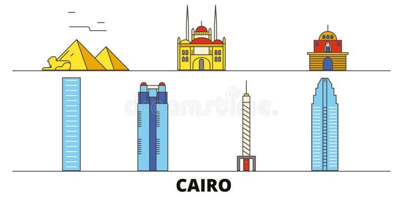 Διανυσματική απεικόνιση ορόσημων της Αιγύπτου, Κάιρο επίπεδη Πόλη γραμμών της Αιγύπτου, Κάιρο με τις διάσημες θέες ταξιδιού, ορίζ διανυσματική απεικόνιση