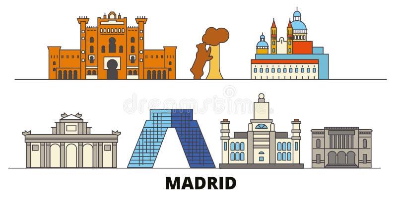 Διανυσματική απεικόνιση ορόσημων της Ισπανίας, Μαδρίτη επίπεδη Πόλη γραμμών της Ισπανίας, Μαδρίτη με τις διάσημες θέες ταξιδιού,  ελεύθερη απεικόνιση δικαιώματος
