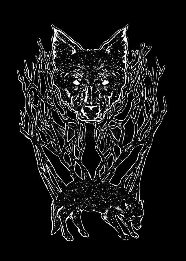 Διανυσματική απεικόνιση τέχνης λύκων νύχτας απεικόνιση αποθεμάτων