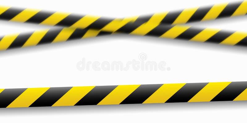 Διανυσματική απεικόνιση της γραμμής προσοχής Κίτρινες μαύρες ταινίες προειδοποίησης αστυνομίας, περίφραξη σημάδι κινδύνου Μην δια διανυσματική απεικόνιση