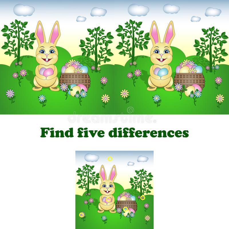 Διανυσματική απεικόνιση του ευρήματος οι πέντε διαφορές με το λαγουδάκι Πάσχας διανυσματική απεικόνιση