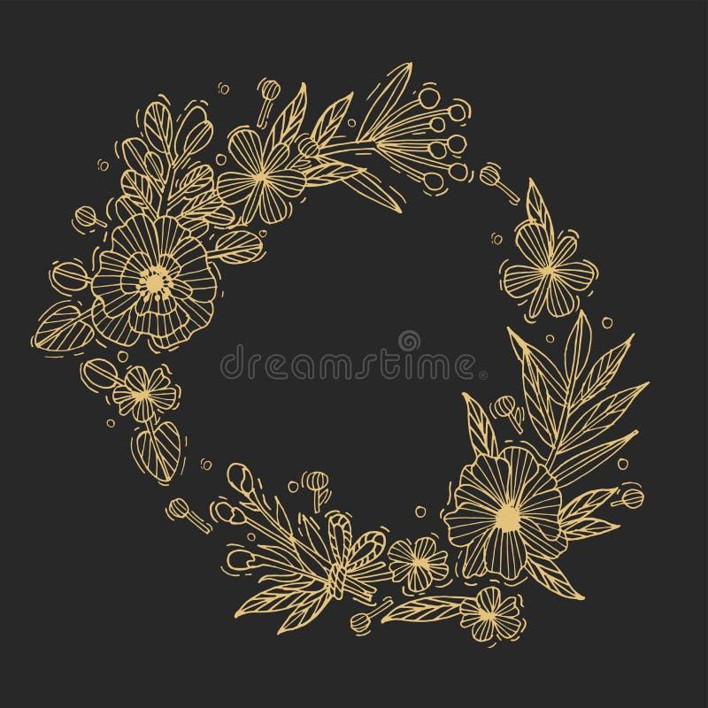 Διανυσματική γαμήλιο υπόβαθρο ή κάρτα πρόσκλησης Floral απεικόνιση-Hydrangea, βατράχιο, anemone και κρίνος ασφάλιστρο διανυσματική απεικόνιση